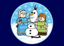 """Kids/Unisex T-Shirt - LEGO """"Build A Snowman?"""" Frozen US Kids XL - Navy"""