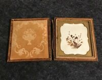 Antique Mid 1800's Dried Flowers in Leather Case. Very Rare Find . Split Frame