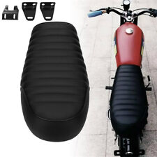 Black Motorcycle Leather Seat Seating Custom for Cafe racer Bike Honda Harley 1x