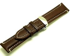 22mm Brown HQ Genuine Leather Contrast Stitch Watch Strap Butterfly Clasp