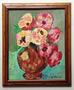 Painting 20th Post Impressionism Bouquet of Flowers Anemones Gouache Signed