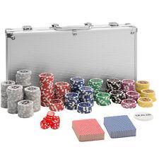 Maletín Póker set aluminio plateado 300 fichas láser poker chips + accesorios