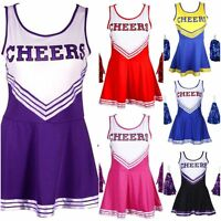 Cheerleader Fancy Dress Costume Outfit With Pom Poms High School Musical Girls