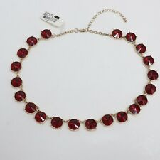 "Red Teardrop Crystal & Gold 20"" Necklace"