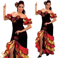 Ladies Rumba Spanish Flamenco Dancer Party Salsa Kids Fancy Dress Costume Outfit
