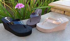 NEW Women's Platforms Wedge T-Strap Fashion Sandals Shoes Casual Flip Flop--1098