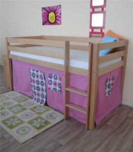 Vorhang für 3 Seiten für Hochbett Spielbett Etagenbett Pink retro