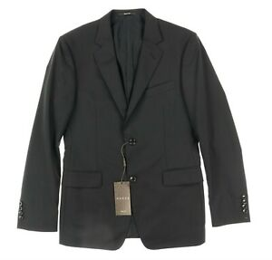 GUCCI 133364 Mens Solid Black Wool Two Button Blazer Jacket Size 48