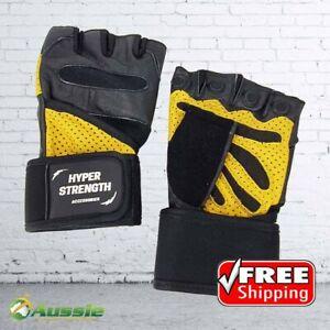 Hyper-Strength Wrist Wrap Bodybuilding Gym Gloves Workout Leather