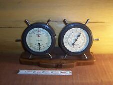 Vtg Airguide Barometer & Thermometer by Fee & Stemwedel INC Chicago Ship Wheel