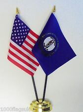 United States of America & Kentucky Double Friendship Table Flag Set