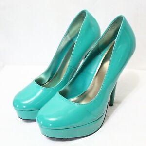 "CHARLOTTE RUSSE womens slip on 4.5"" stiletto heel green dress shoes size 8 M"