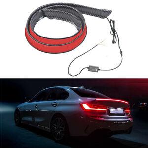 LED Car Tail Wing Sticker Trunk Spoiler Rear Lip Trim Carbon Fiber Look 120cm
