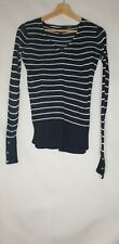 Atomsphere Blue Strip Long Sleeve V Neck Knit Top UK 6