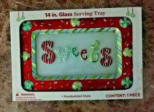 """Christmas Motif  """"Sweets"""" Glass Serving Tray 14"""" x 9"""" Handpainted Food-safe"""