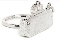 Alexander McQueen knuckle clutch key ring in metallic,new
