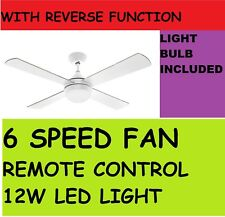 Arlec 130cm Boston Fan Ceiling With LED Light & Remote Control ,6 Speed 30W DC
