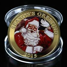 Gold Plated Seasons Santa Claus Commemorative Coin Merry Christmas Collection