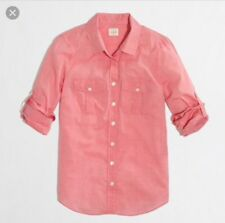J. Crew Women's Small Cotton Voile Camp Shirt Roll-up Sleeves Buttons