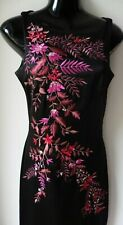 Ted Baker embroidered black satin party midi dress Size 10 Brand N