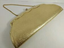 Elegant Gold Lame Clutch, Carry Purse w/ Gold Chain Vintage 1950s - 1960s Formal