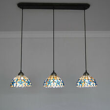 3 Lights Modern Stained Shell Pendant Lamp Handcrafted Ceiling Fixtures PL711