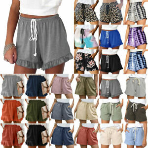 Womens Elastic Waist Shorts Drawstring Casual Summer Beach Wide Leg Short Pants
