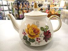 Vintage GIBSON Staffordshire Small English teapot w Gold Trim Yellow RED Flowers