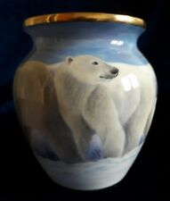 More details for polar bear vase, designed and freehand painted inside and out by sandra selby