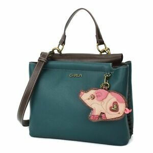New Chala SATCHEL Tote Crossbody Bag Turquoise Blue PIG Coin Purse Gift Farm