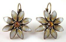 £25 Art Deco Gold Yellow Daisy Flower Drop Earrings Swarovski Elements Crystal