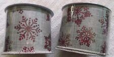 """(2) Merry Brite Wire Edge Ribbon - Red Snowflakes - 2.5"""" X 5 Yds. Each - New"""