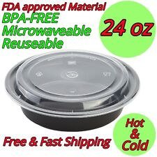 24oz Round Food Storage Meal Prep Containers BPA FREE Microwavable Lunch Salad