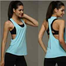 Sexy Women Summer Loose Gym Sport Vest Workout Tank Tops Fitness Yoga Blouse LBM