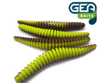"""Floating Ring Worms Brown Charteuse Fishing Soft Lures Tackle Baits 3.5"""""""