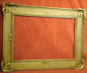 Antique Arts Crafts Gilt Gesso Gold Wood Picture Frame Custom Corners 11x17 RICH
