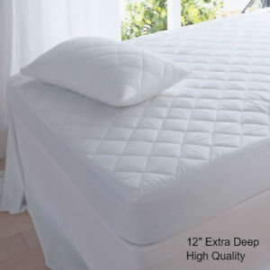 """12"""" Extra Deep Quilted Mattress Protector Luxury Fitted Bed Cover King,Queen"""