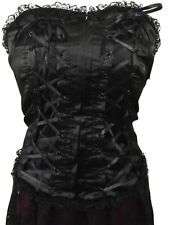 Dark Star Black Satin Lace Trimmed Basque Corset Gothic Victorian Steampunk S/M
