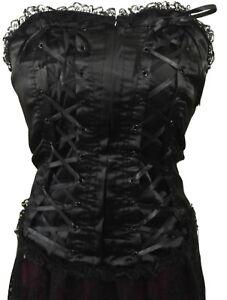 Dark Star Black Satin Lace Trimmed Basque Corset Gothic Victorian Steampunk S/M