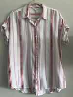 NWT Beach Lunch Lounge Relaxed Striped Button Front Blouse Shirt Womens M