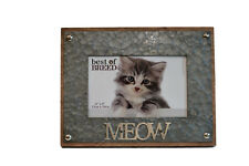 """MEOW"" CAT MDF AND BRUSHED METAL EFFECT PHOTO PICTURE FRAME WITH STAND / 6"" X4"""
