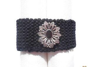Handmade Knit Woven Stretch Cuff Bracelet Pewter Silver Flower
