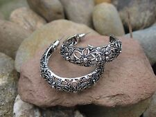 Vintage Tribal Gypsy Retro Bohemian Exotic Floral Tibetan Silver Hoop Earrings