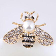 Vintage Enamel Bumble Bee Pearl Brooch Pin Costume Badge Women Jewelry Gift
