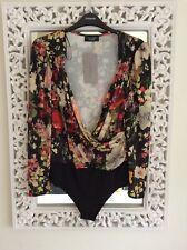 Zara Black Red Yellow Floral Plunge Bodysuit, Size S UK 8 New