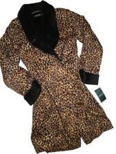 Ralph Lauren Leopard Print Sateen Fleece backed Wrap Robe LARGE retail $98