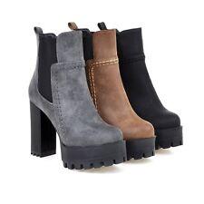 Ladies Chic Round Toe High Heel Platform Ankle Boots Shoes AU Size 2.5--13 B467