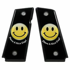 Custom 1911 Compact ambi & non-ambi fit SPD Acrylic Grips Nice Day Smiley
