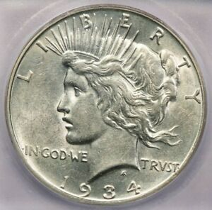 1934-D 1934 Peace Dollar $1 ICG AU55 Details really flashy and lustrous!