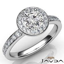 Classic Round Diamond Halo Pave Set Engagement Ring GIA E VS1 Platinum 1.17ct